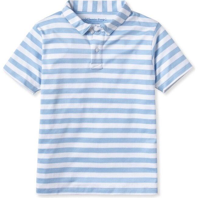 Henry Short Sleeve Polo, Placid Blue & Bright White Stripe