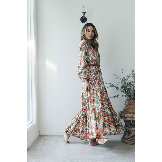 Women's Sienna Maxi Dress, Orange Flowers
