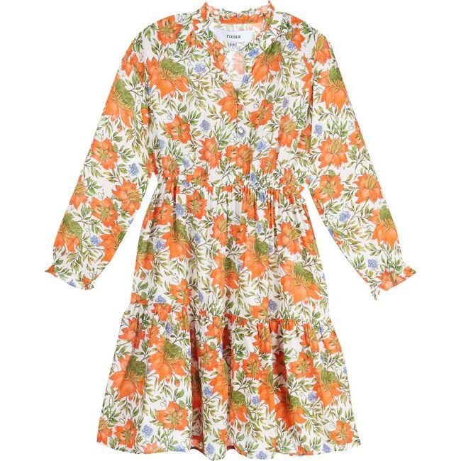 Sienna Kids Dress, Orange Flowers