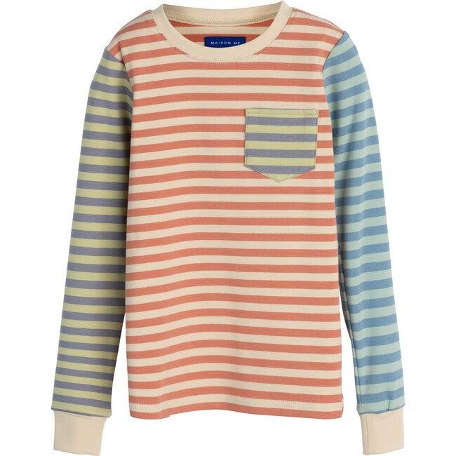 Taylor Long Sleeve Mixed Stripe PJ Set, Pink Multi