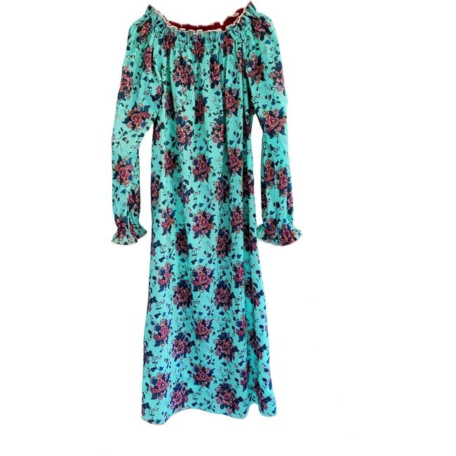 Women's Grace Dress, Turquoise Chinoiserie
