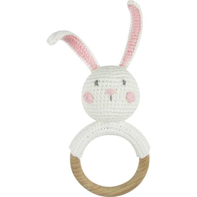 Crochet Bunny Ring Rattle Teether