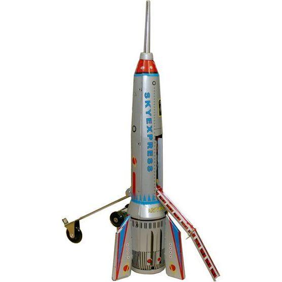 Rocket Ship Tin Toy, Silver