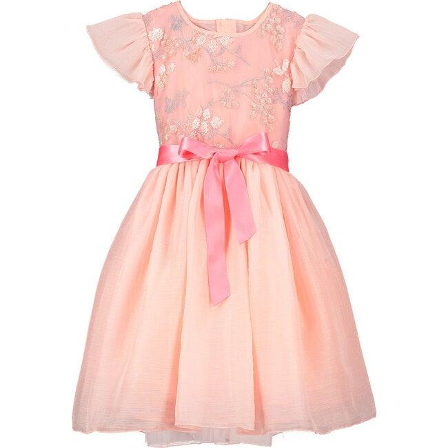 Shimmer Blossom Embroidered Dress, Pink