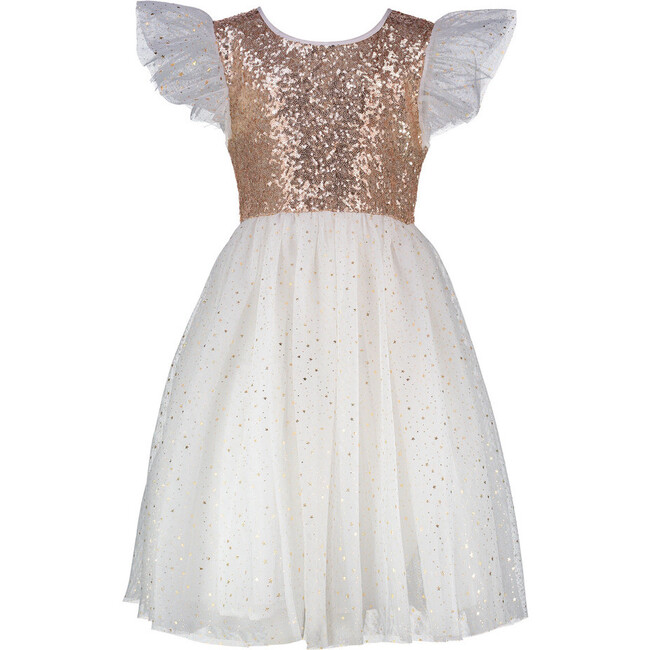 *Exclusive* Girls Shimmer Sequin & Star Tulle Party Dress, Gold & Ivory