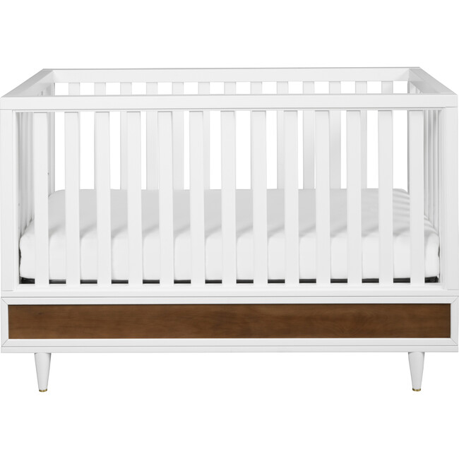 Eero 4-in-1 Convertible Crib with Toddler Bed Conversion Kit, White/Natural Walnut