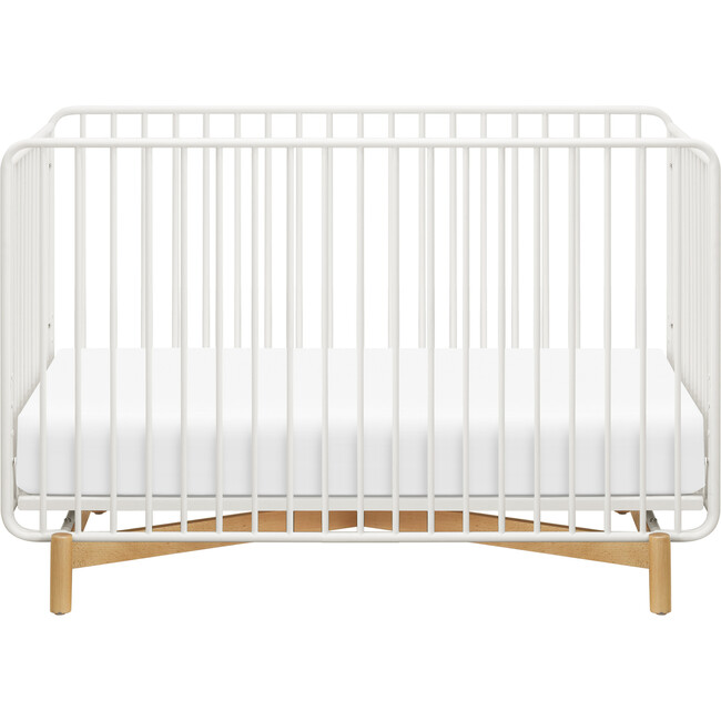 Bixby Metal Crib with Toddler Bed Conversion Kit, Warm White/Natural Beech