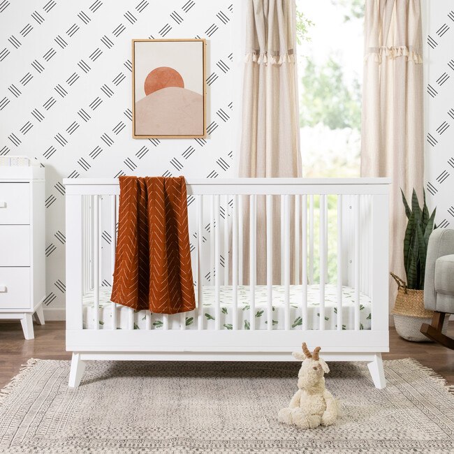 Scoot 3-in-1 Convertible Crib with Toddler Bed Conversion Kit, White