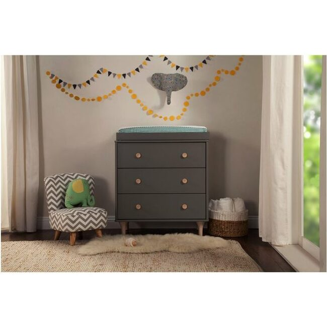 Lolly 3-Drawer Changer Dresser with Removable Changing Tray, Grey