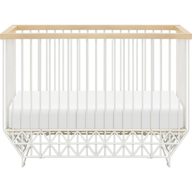 Mod 2-in-1 Convertible Crib with Toddler Bed Conversion Kit, Warm White & Natural