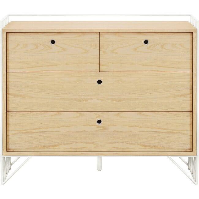 Mod 4-Drawer Dresser, Warm White/Natural