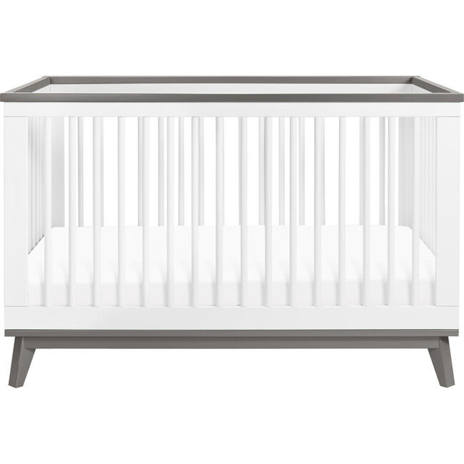 Scoot 3-in-1 Convertible Crib with Toddler Bed Conversion Kit, White/Slate
