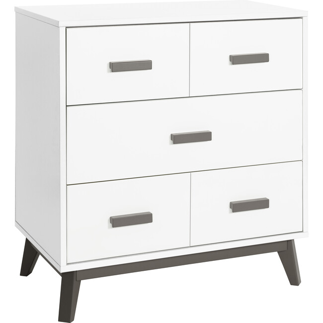 Scoot 3-Drawer Changer Dresser with Removable Changing Tray, Slate/White