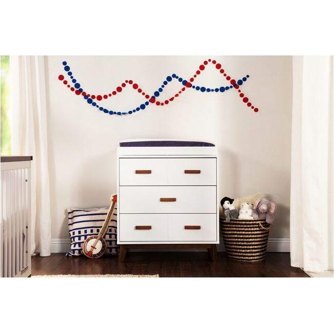 Scoot 3-Drawer Changer Dresser in White/Walnut