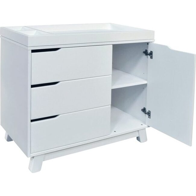 Hudson 3-Drawer Changer Dresser with Removable Changing Tray, White