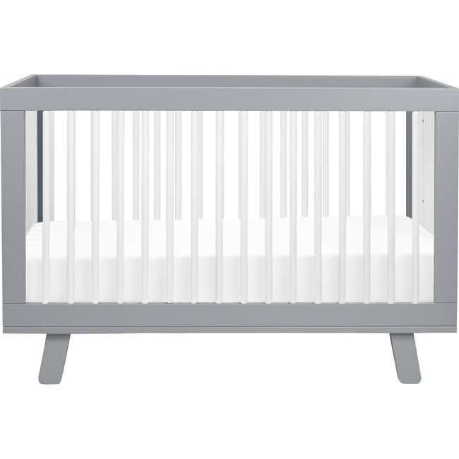 Hudson 3-in-1 Convertible Crib with Toddler Bed Conversion Kit, Grey/White - Cribs - 1