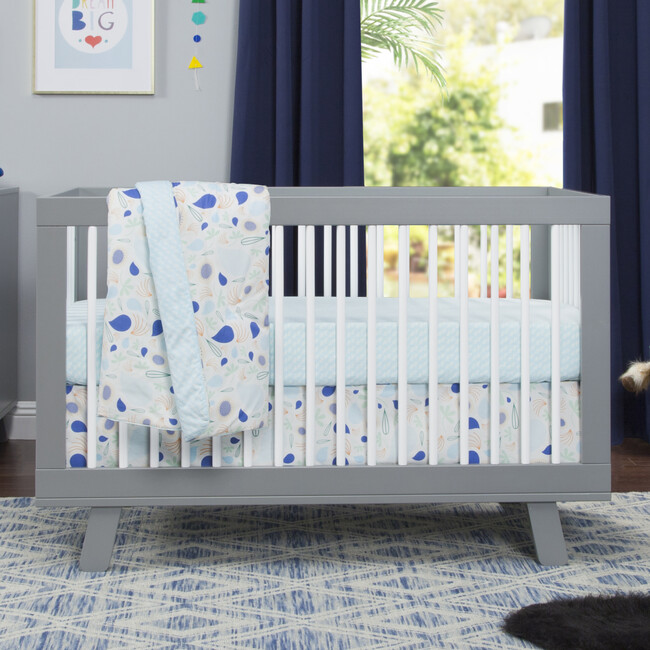 Hudson 3-in-1 Convertible Crib with Toddler Bed Conversion Kit, Grey/White