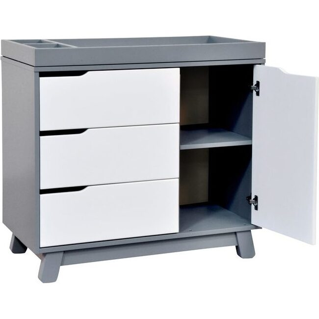 Hudson 3-Drawer Changer Dresser with Removable Changing Tray, Grey/White