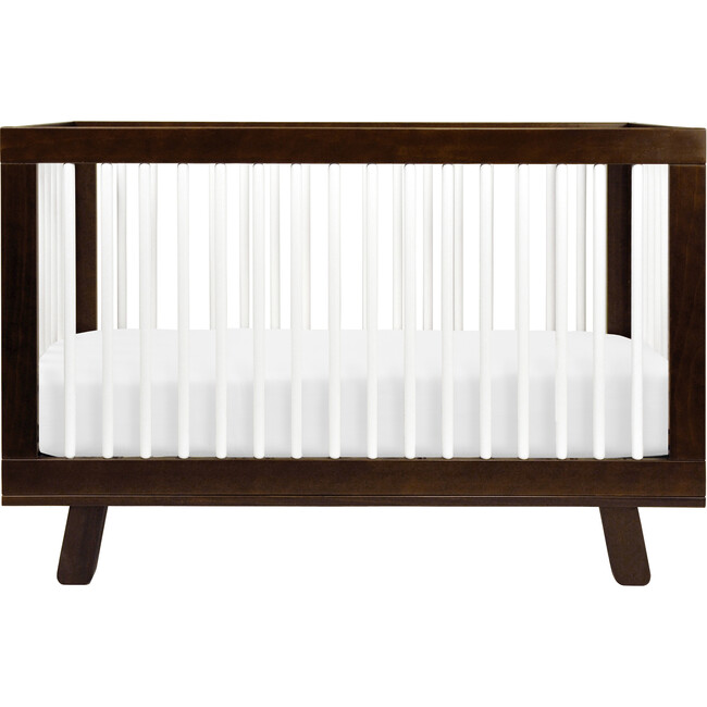 Hudson 3-in-1 Convertible Crib with Toddler Bed Conversion Kit, Espresso/White