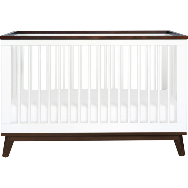 Scoot 3-in-1 Convertible Crib With Toddler Bed Conversion Kit, White/Walnut