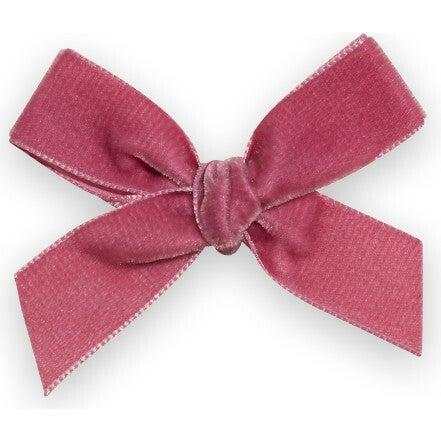 Velvet Bow Headband, Pink Rose