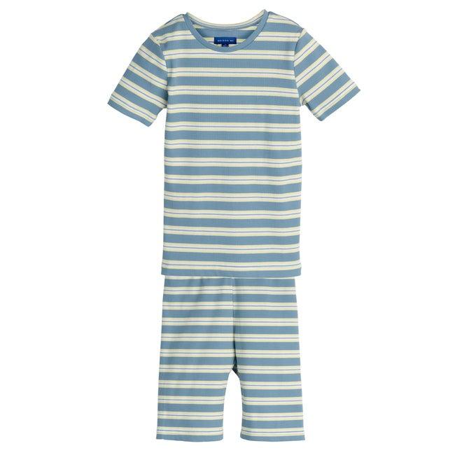 Emerson Short Sleeve PJ Set, Blue Multi Stripe