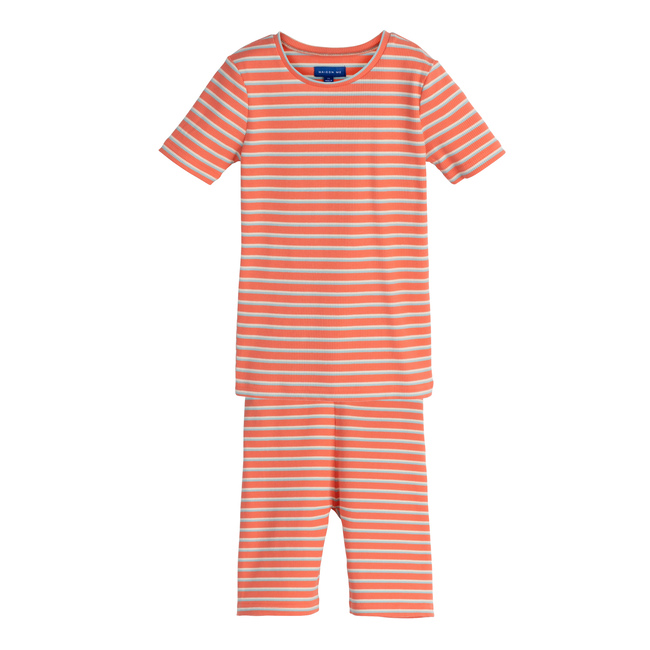 Emerson Short Sleeve PJ Set, Coral Multi Stripe