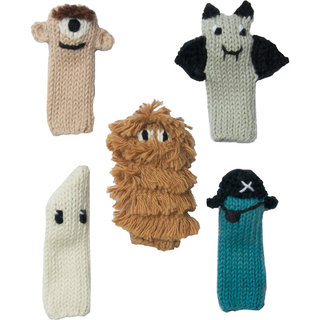 Set of 5 Spooky Finger Puppets, Multi