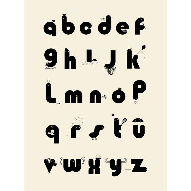 Alphabet Wall Print, Cream/Black