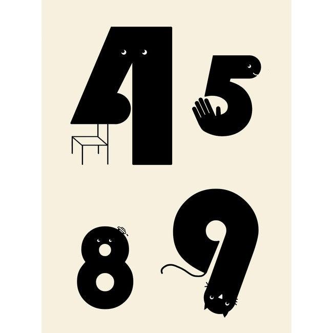 Numbers Wall Print, Cream/Black