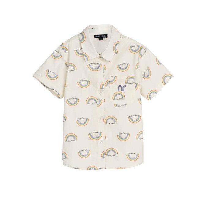 Billie Poplin Shirt, Marshmallow Rainbow