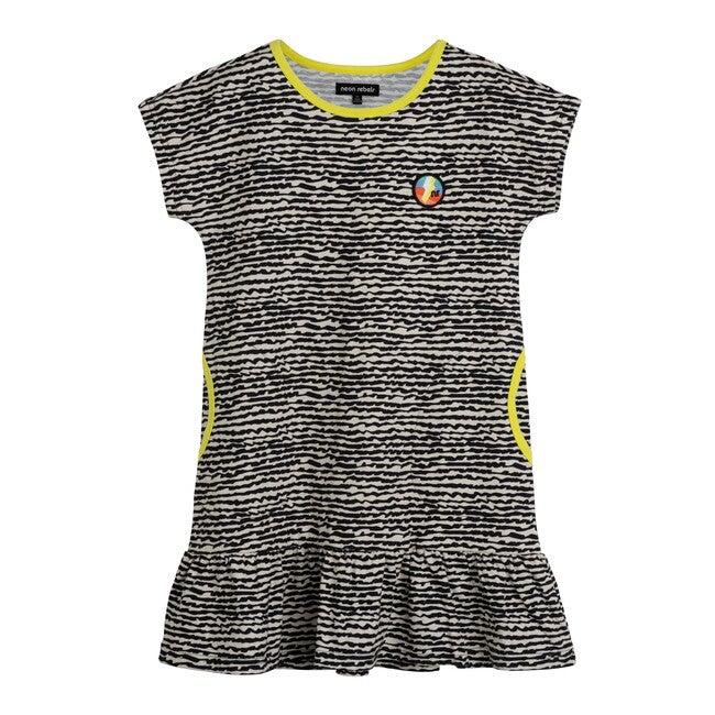 Sia Jersey Shirt Dress, Faded Black Fun Stripe