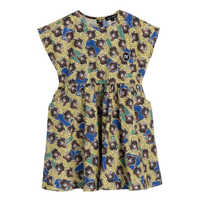 Zadie Poplin Dress, Yellow Iris Panther