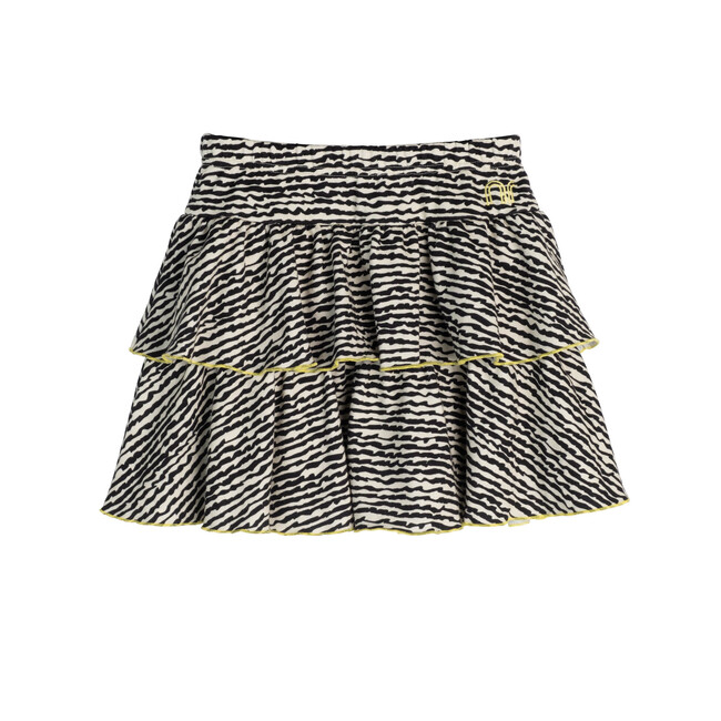 Courtney Ruffle Skirt, Faded Black Fun Stripe
