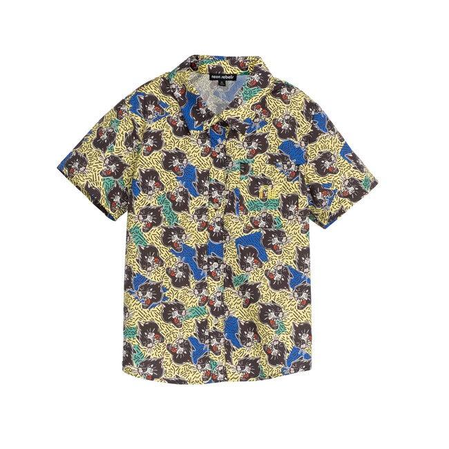 Billie Poplin Shirt, Yellow Iris Panther