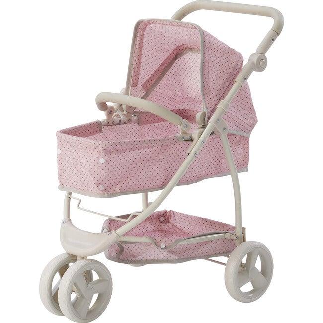 Polka Dots Princess 2-in-1 Baby Doll Stroller, Pink/Grey - Dolls - 1