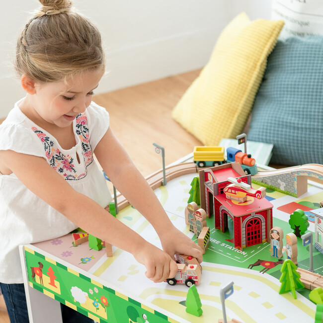 Preschool Play Lab Toys Country Train and Table Set, White