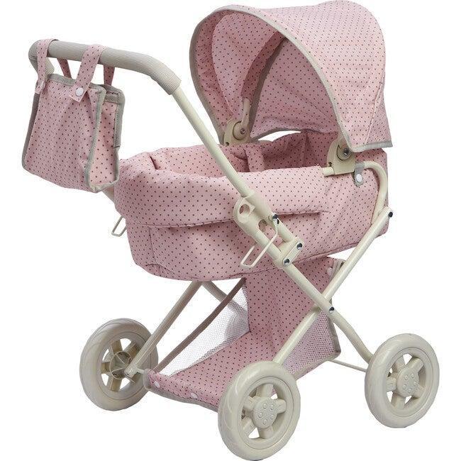 Polka Dots Princess Baby Doll Deluxe Stroller, Pink & Grey