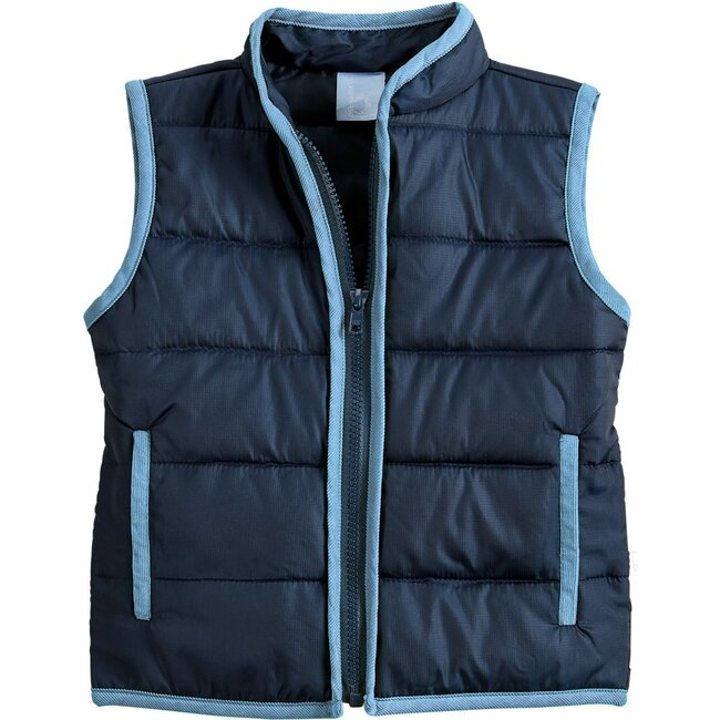 Puffer Vest, Navy with Blue