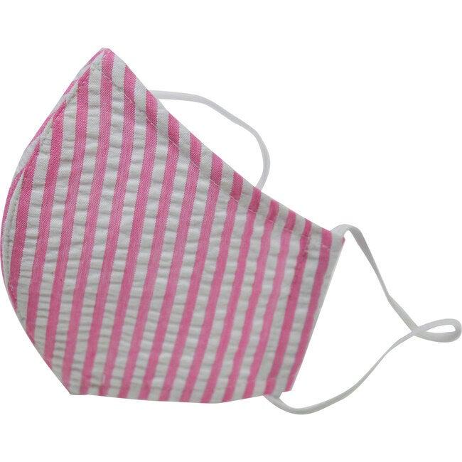 Cotton Face Mask, Pink Seersucker Stripe - Face Masks - 1