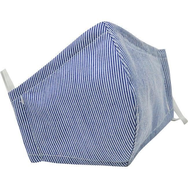Cotton Face Mask, Navy Seersucker Stripe