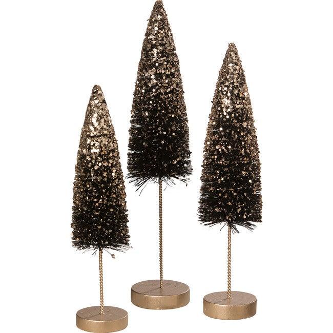 Black Bottle Brush Trees With Gold Glitter, Set of 3