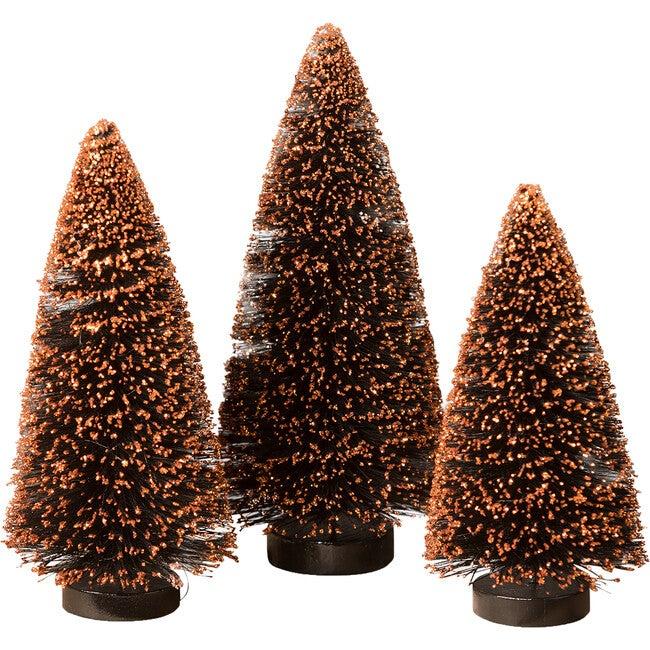 Black Bottle Brush Tree With Orange Glitter, Set of 3