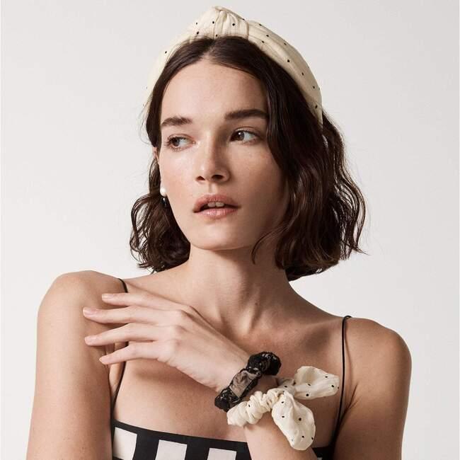 Women Dotted Silk Knotted Headband, Cream