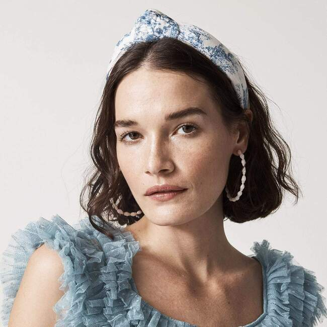 Women Toile Knotted Headband, Blue
