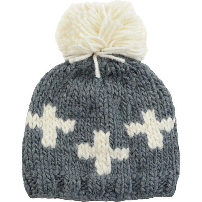 Miko Swiss Cross Knit Hat, Gray & Cream - Hats - 1