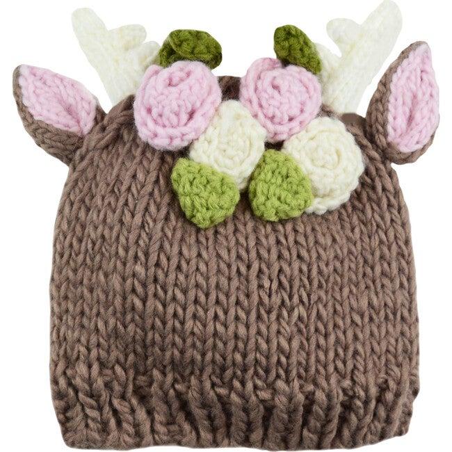 Deer Hat with Flowers, Brown