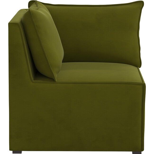 Emelia Sectional Corner Chair, Velvet Applegreen