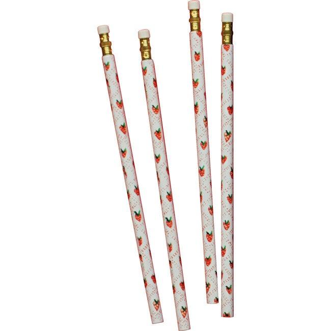 Set of 4 Pencils, Strawberry