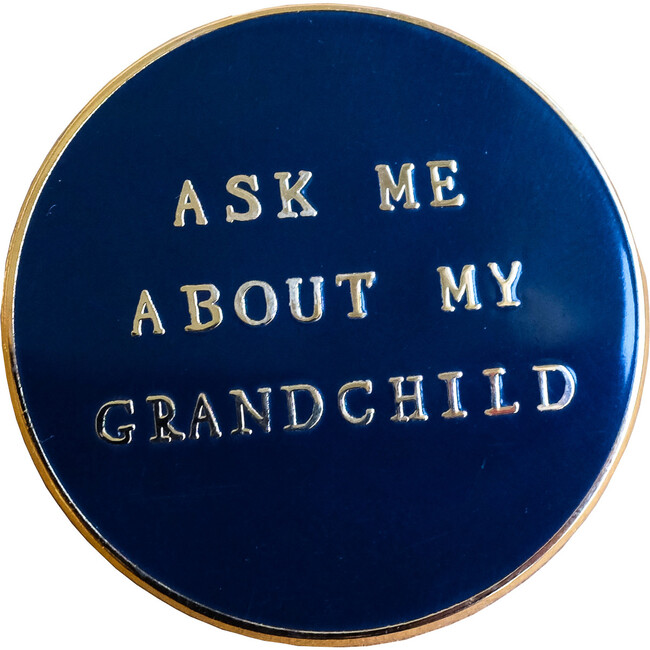 Ask Me About My Grandchild Pin, Gold/Black